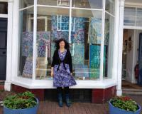 Orna Schneerson Pascal with her art at chalk gallery lewis