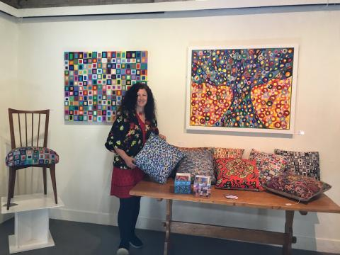 Orna with her art at Farley Farm House Gallery