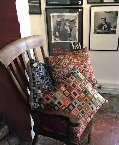 Lee Miller at the Farley Farm House Shop next to Orna's Cushions