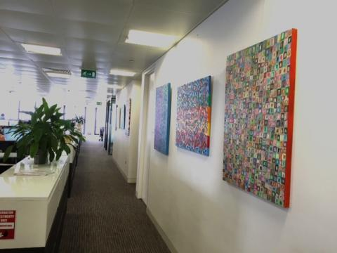 Orna's art at an office in Canary Wharf in London